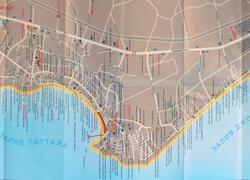 Подробная карта Паттайи с отелями и пляжами