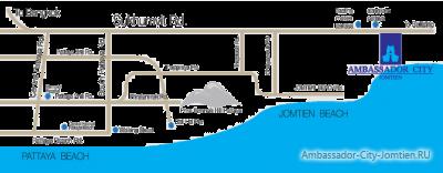 Расположение отеля Ambassador City Jomtien на карте Паттайи
