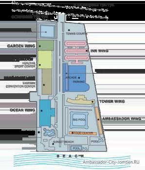 Навигация по корпусам отеля Ambassador City Jomtien