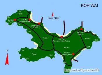 Карта острова Ко Вай