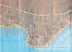 Отели и пляжи Паттайи на карте