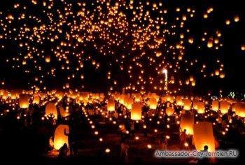 Воздушные фонари на Лой Кратонг в Паттайе