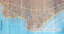 Подробная карта Паттайи на русском языке с отелями