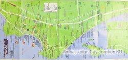 Карта Паттайи с отелями и пляжами (включая Ko Larn)