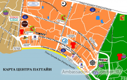 Подробная карта центра Паттайи