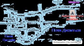 Альтернативная схема расположения отеля Амбассадор на карте Паттайи