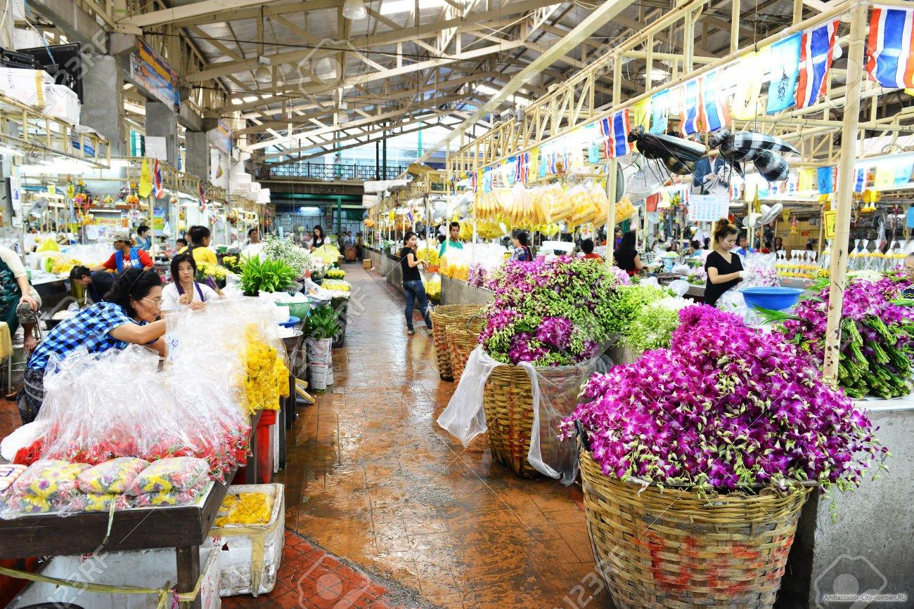 цветочный рынок в Бангкоке фото